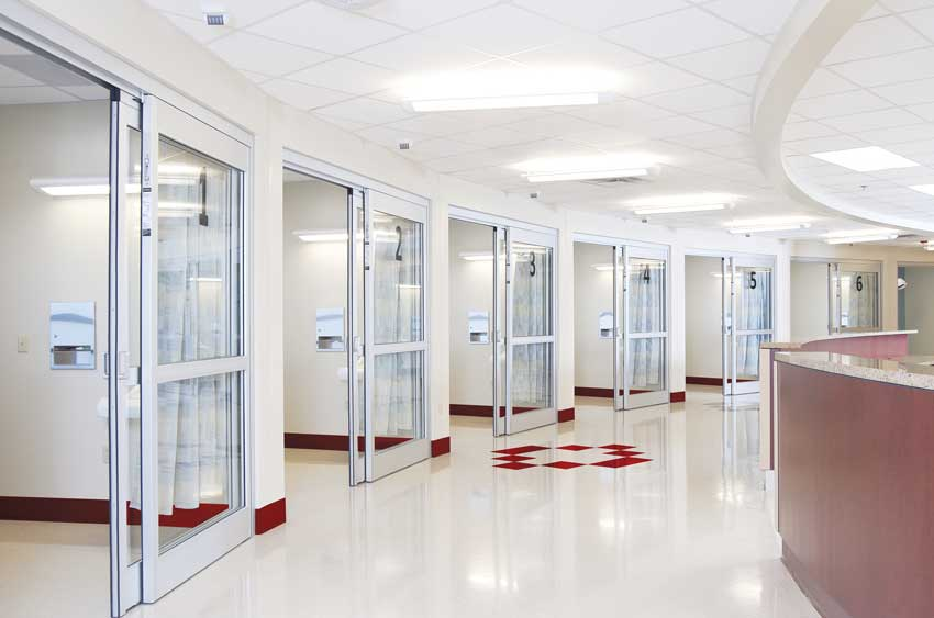 Manual sliding doors.