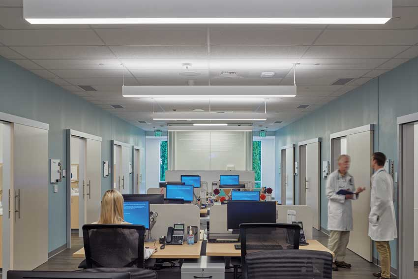 healthcare center with sliding doors.