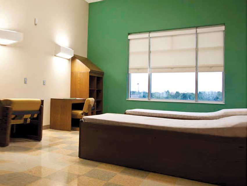 roller shades in a hospital room.