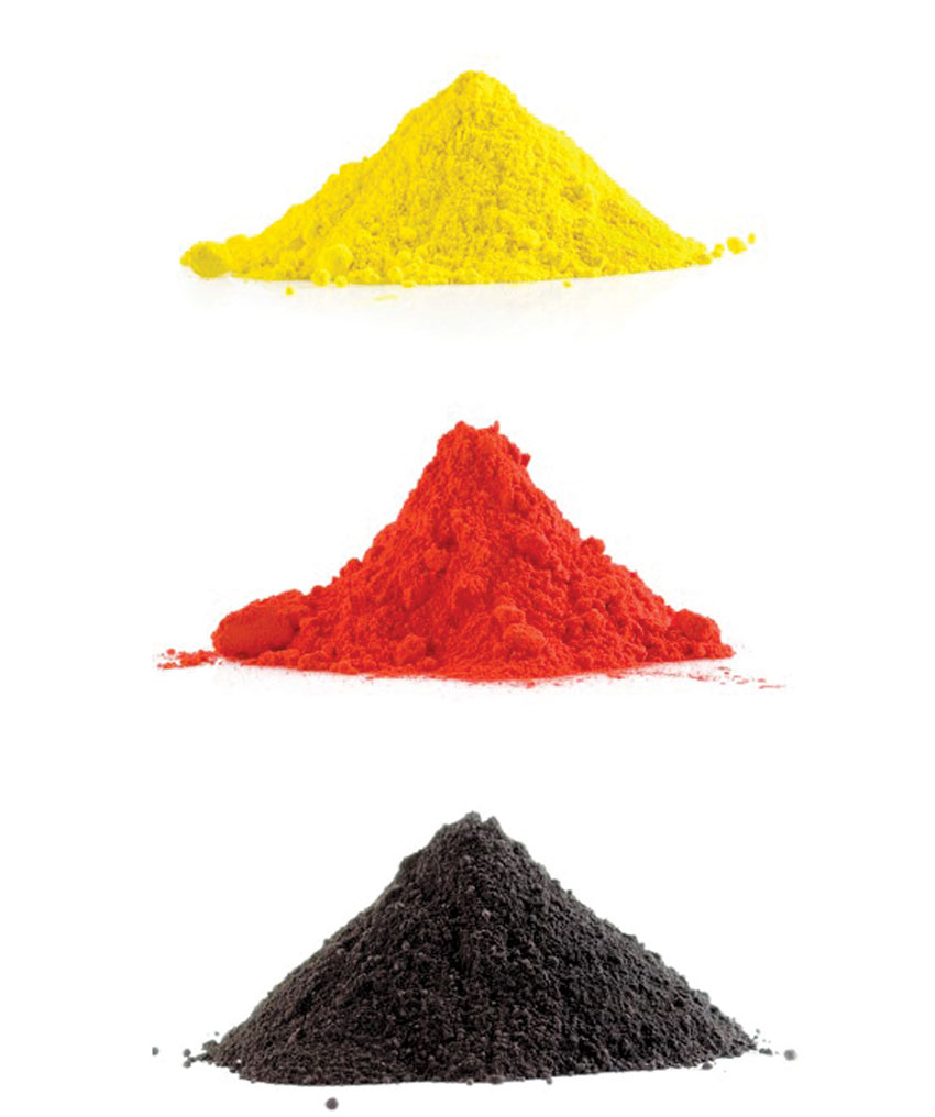 powder coating with different colors; yellow, red, and black (top to bottom) style=