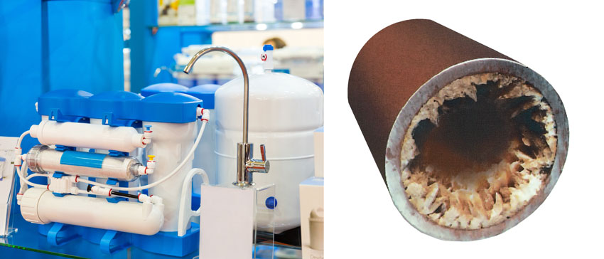 Left: water filtration system, right: building up of a pipe.