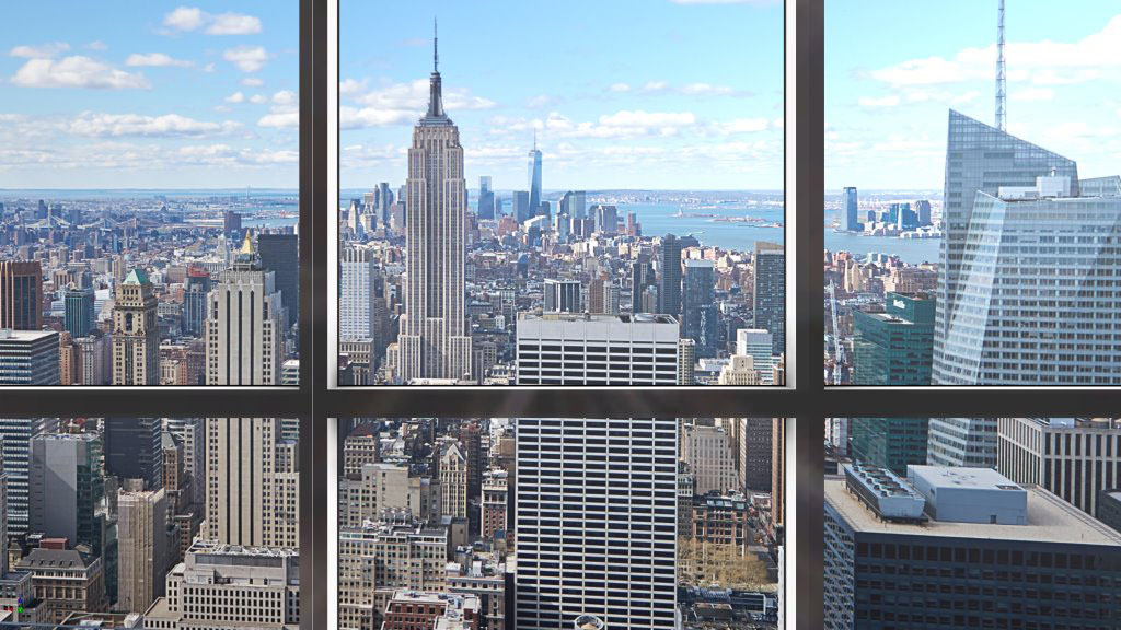 Photo of New york buildings on outside looking in.