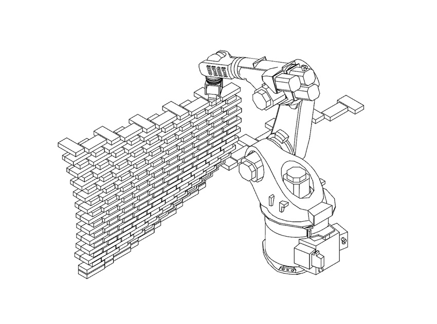 Diagram of the brick-laying robot.