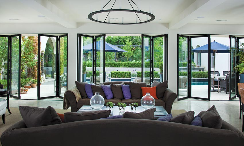 Photo of a modern interior with lots of windows.