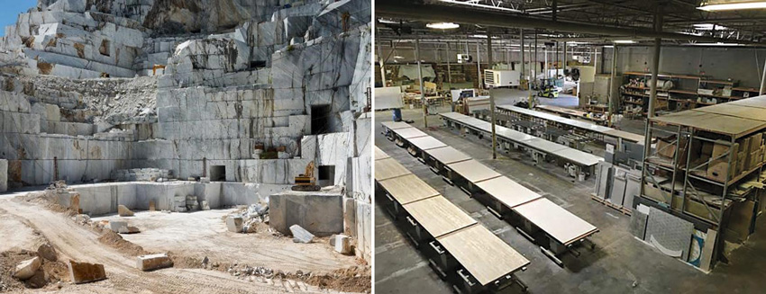 Left: A stone quarry. Right: A stone factory.