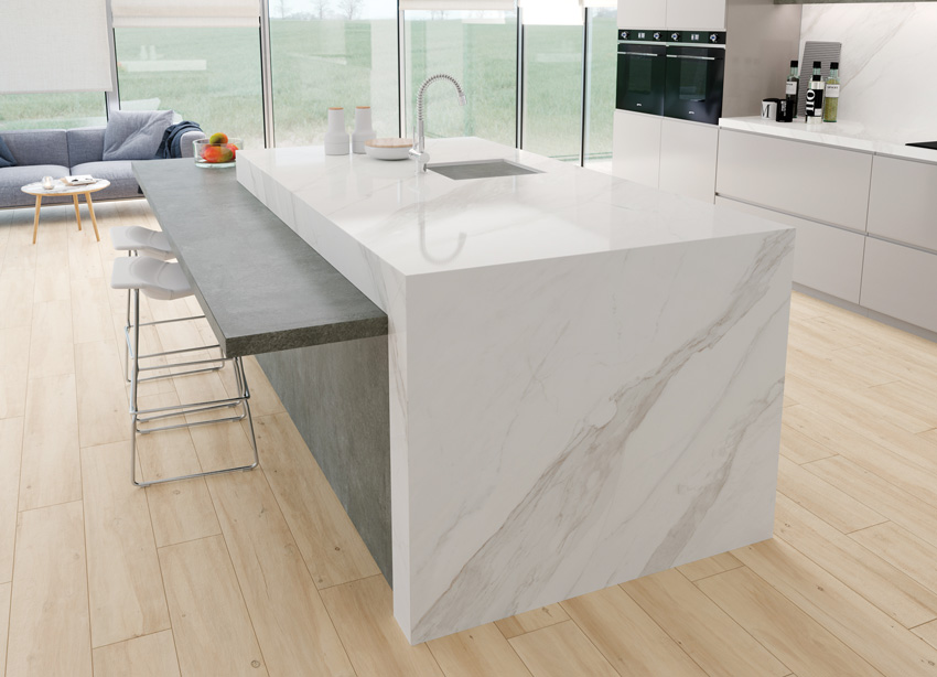 Photo of porcelain slab countertops.