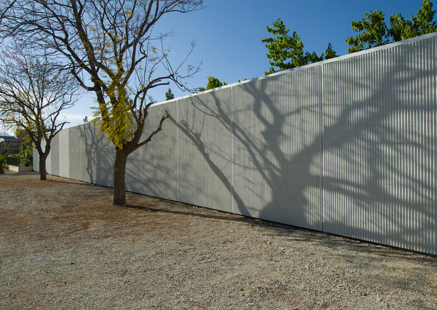 Photo of the shade trees reflected in the white ceramic facade.
