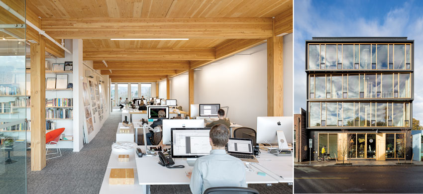 The mass-timber elements of the four-story Albina Yard (left and right) serve as both structure and interior finish material.
