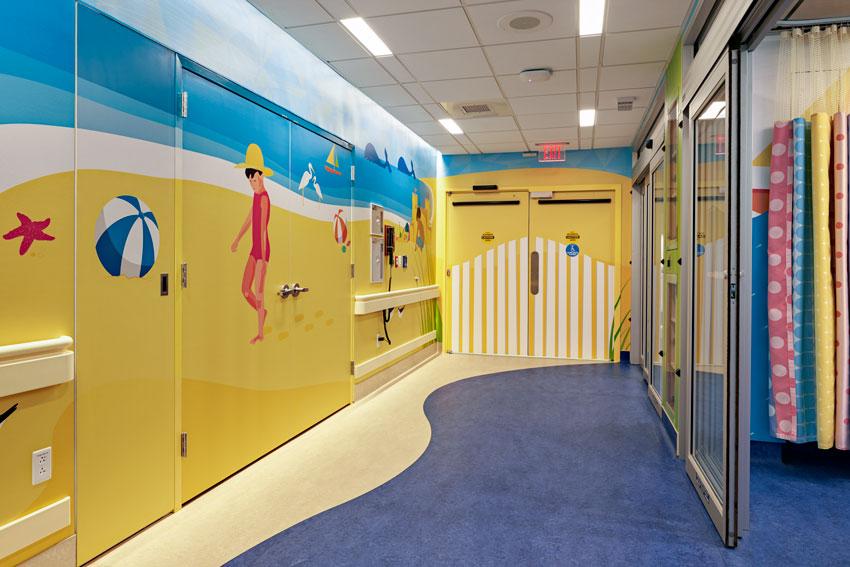Interior photo of Yale-New Haven Children's Hospital Pediatric MRI Unit.