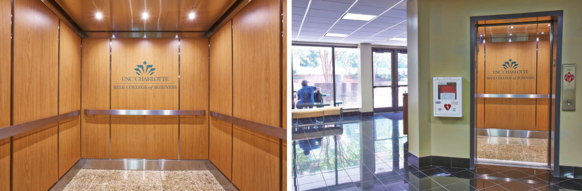 Two photos of the elevators at the campus of the University of North Carolina.