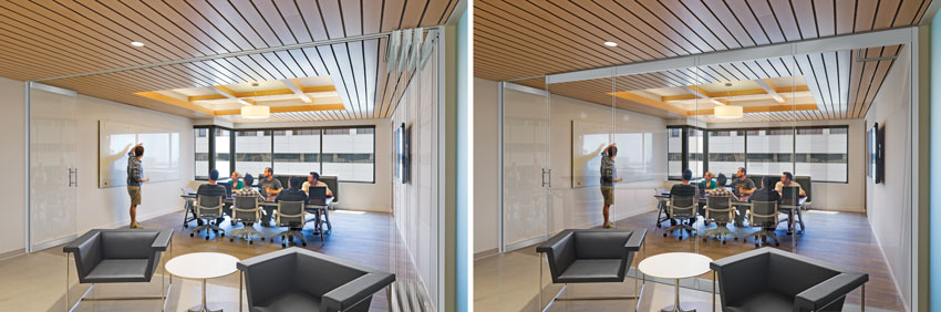 Operable glass walls provide the flexibility of opening spaces up to each other (as shown on the left) or separating spaces (as shown on the right) to create privacy and sound isolation without sacrificing light and visual connectivity.