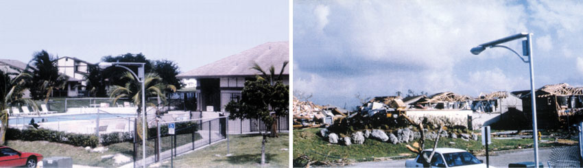 Left: A building before Hurricane Andrew. Right: The building after Hurricane Andrew.