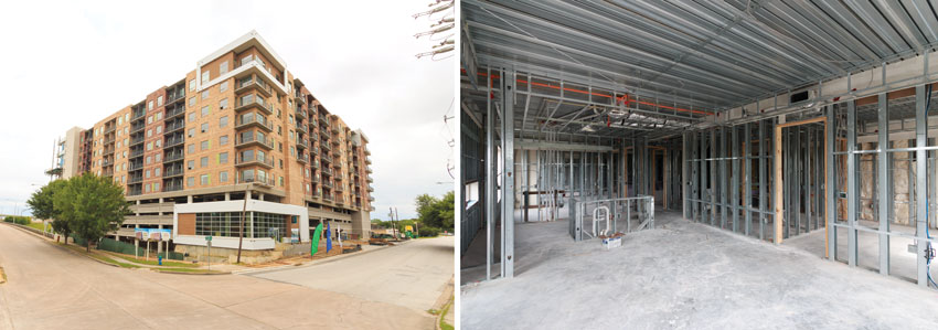 Left: Exterior photo of a building under construction. Right: Interior photo of a buiding under construction.