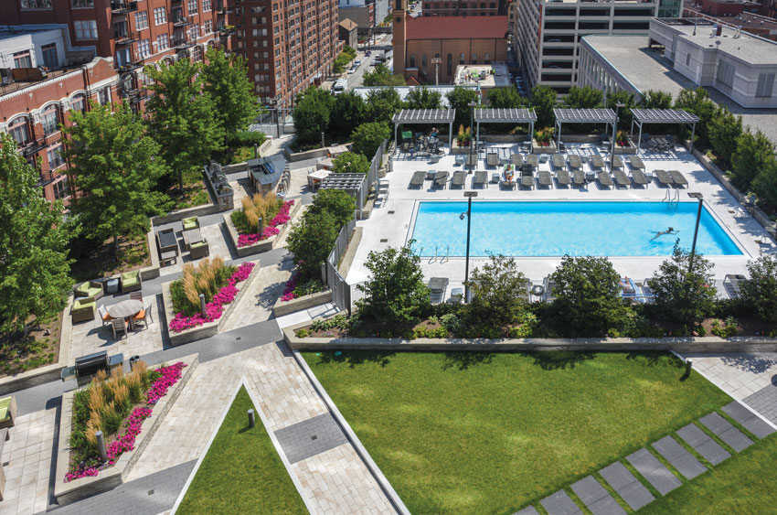 This aerial view shows the eighth-floor amenity deck and gardens at Hubbard Place, Chicago.