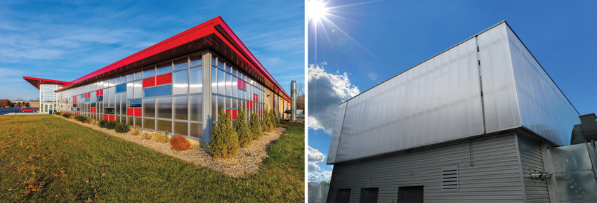 Left: Photo of Otterbein University with integrated facade. Right: Photo of Metro Tower III that looks like a framless channel glass wall.
