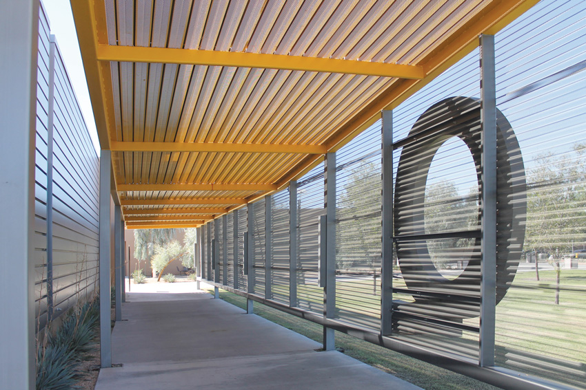 Photo of stainless-steel deck or prefinished deck with vertical facades for sunscreens and shades.