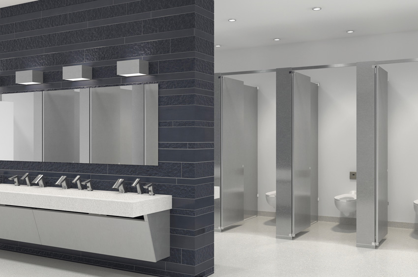 Photo of commercial restroom design.