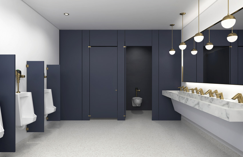 Photo of dark blue special finishes restroom.
