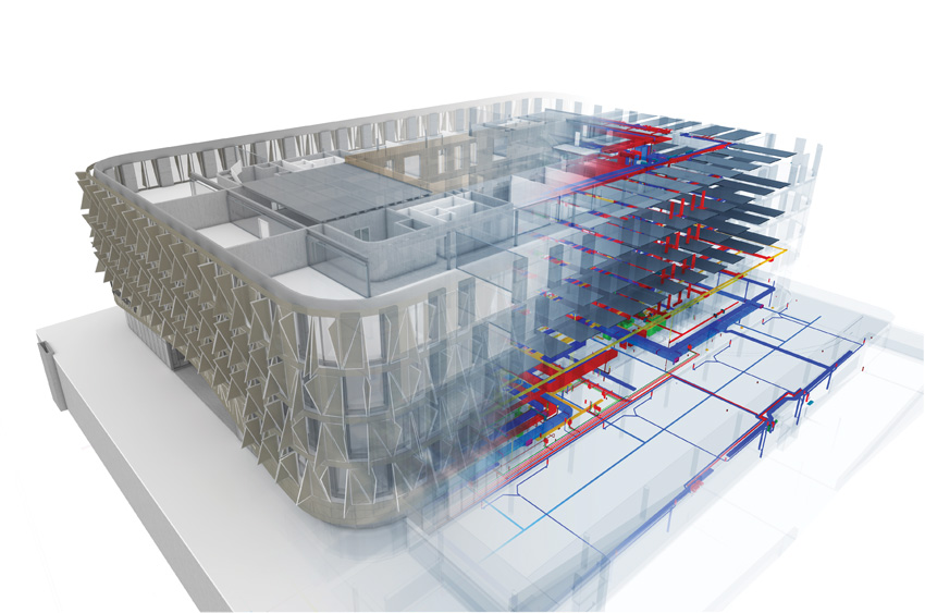 Photo of Building information modeling (BIM) used by Scott Sports Headquarters.