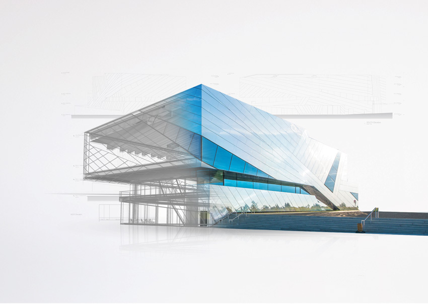 Photo of a building using BIM software with glass and natural sunlight to increase workflow efficiency.
