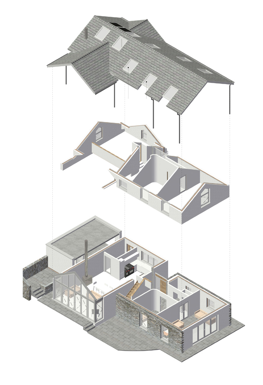 Photo of an example of BIM software. A house with a detached roof that aligns with the roof and in between.