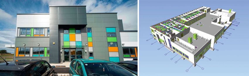 Left: Photo of a block building with orange, teal, bright green windows. Right: a BIM model of the block building.