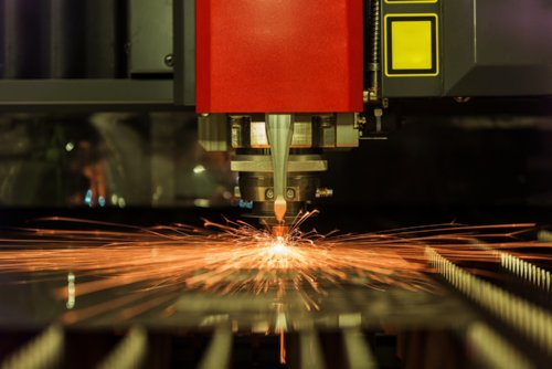 Photo of laser cutting stainless steel