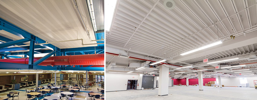 left: Long-span, composite structural floor systems in cafeteria. Right: Long-span, composite structural floor systems in parking garage
