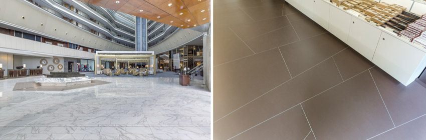 Sintered stone flooring