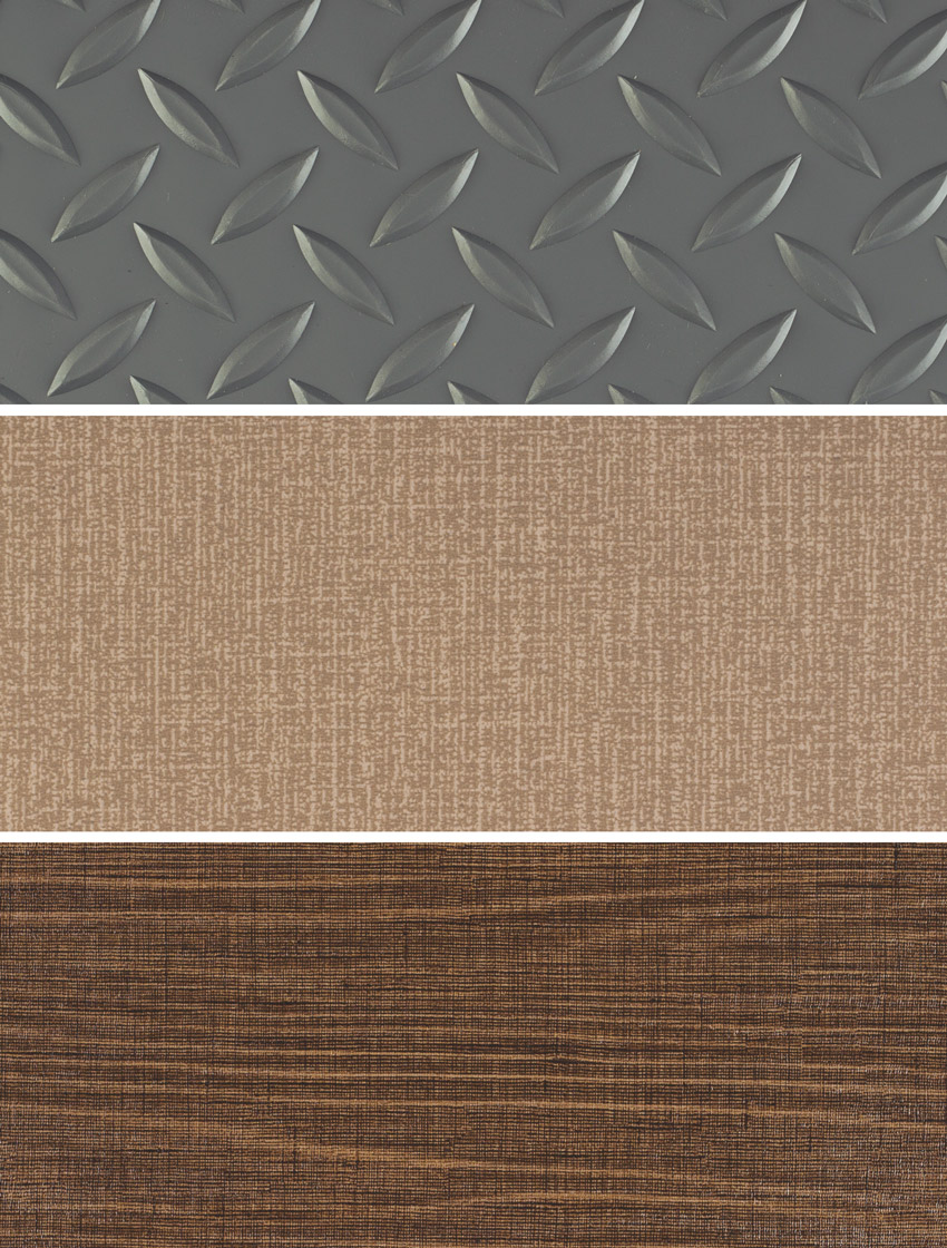 sheet vinyl flooring, from top to bottom: diamond plate pattern, linen pattern, and wood-grain pattern