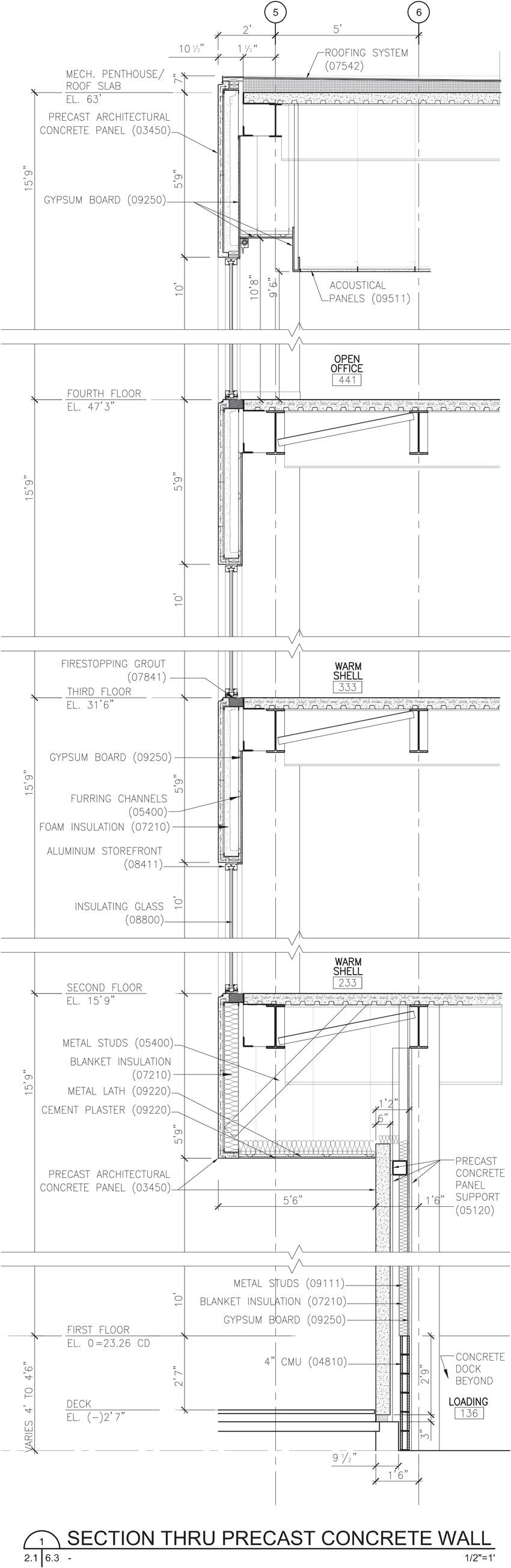 Drawing of Section Thru Precast concrete wall