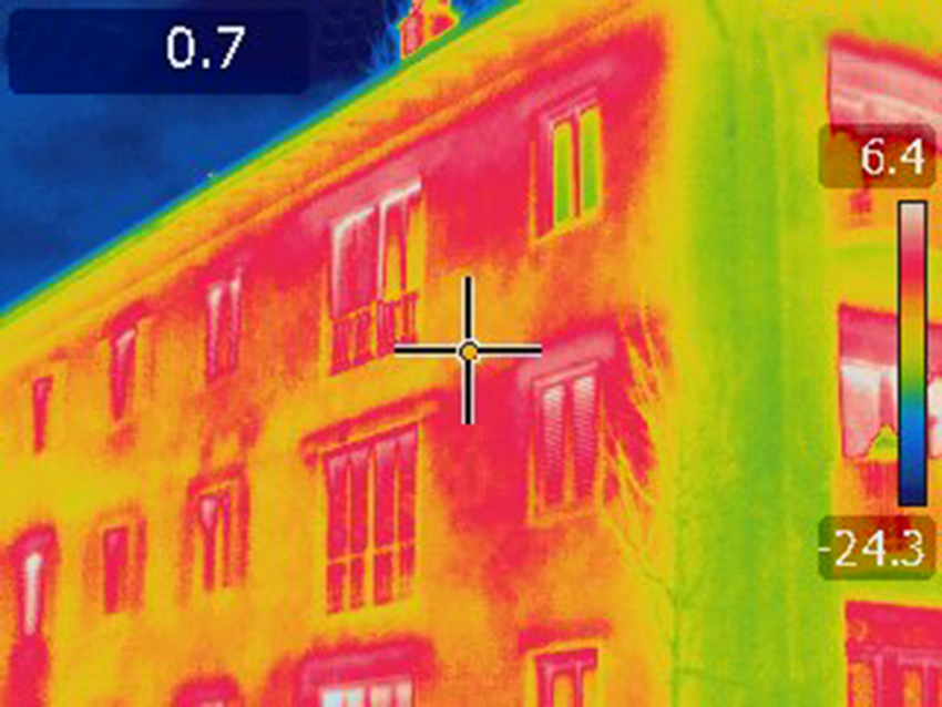 Picture of an infrared thermal imaging scan of an exterior envelope condition.