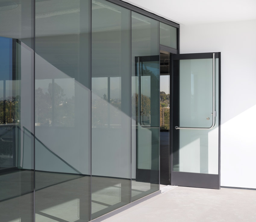 Glass sliding door with thermal technology
