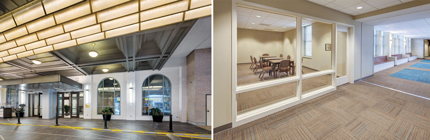 Left: Fairmont Hotel in Vancouver, British Columbia, Canada, Right:CCU I-study corridor, Coastal Carolina University in Conway, South Carolina