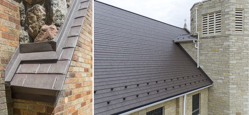 Metal tile roofing with appearance of slate shingles