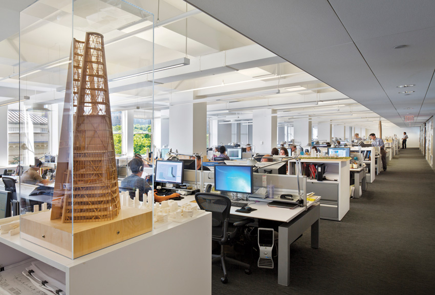KPF's New York office, with a model of a tower in Seoul in the foreground