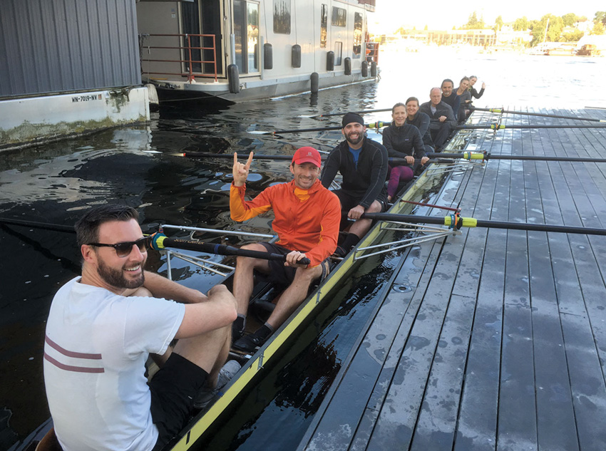 Mithun's rowing team on Seattle's Lake Union