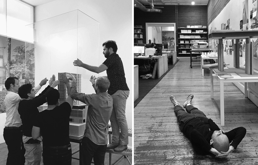 Left image:NADAAA team members. Right image: founder Nader Tehrani in the Boston office.
