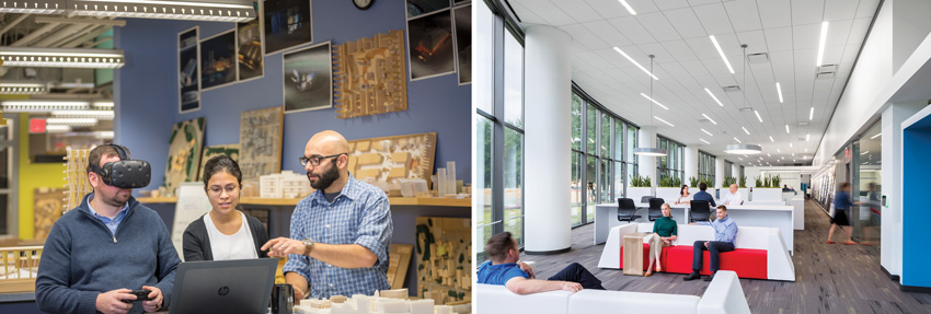 Left image: HDR'S Princeton office with VR equipment. Right image: HDR Princeton firm's Dallas office
