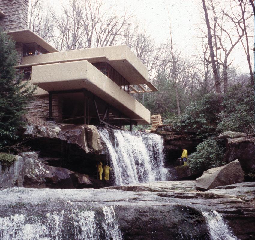 Frank Lloyd Wright's Falling-water (1937) in Bear Run, PA, in 2002