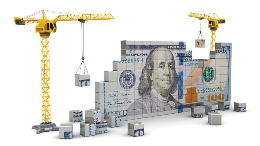 Crane with building blocks of money