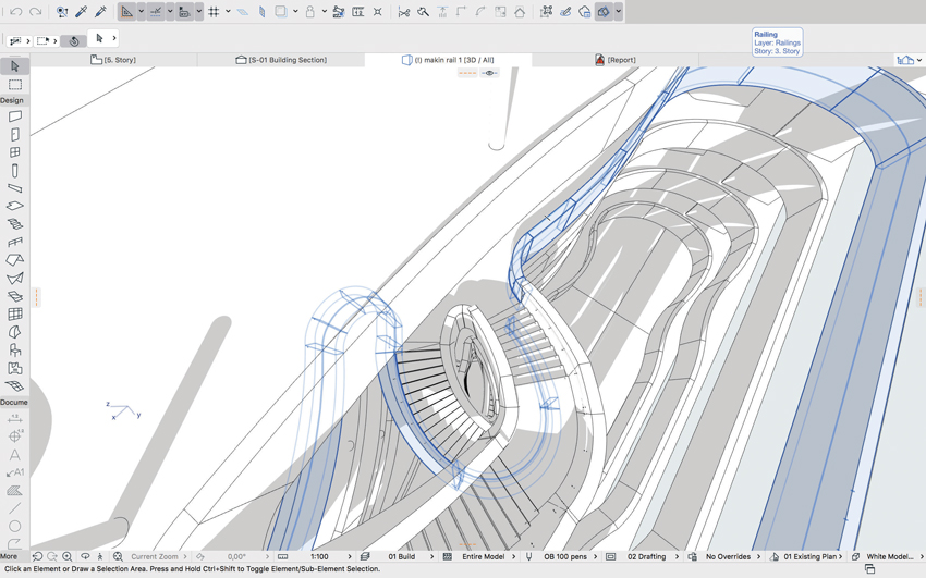 Staircase modeled in BIM