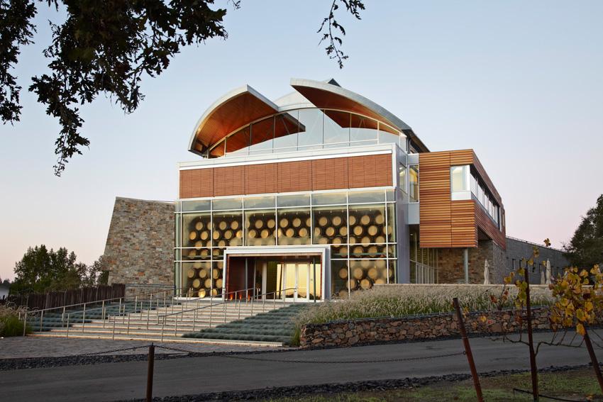 wine barrel building, Williams Selyem Winery in Sonoma County, California