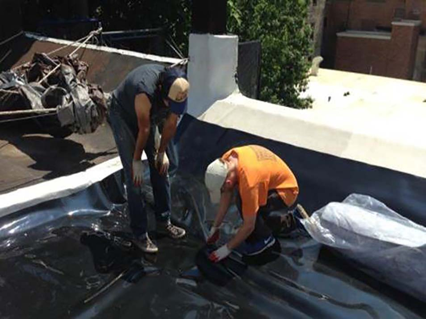 Two men install a polyethylene root barrier