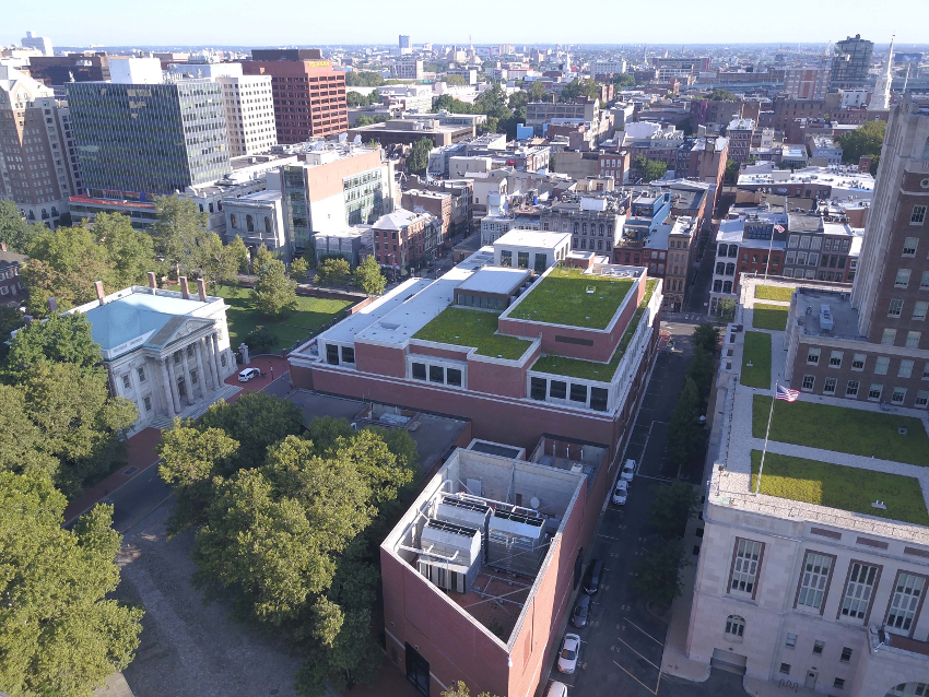green roofing on a building