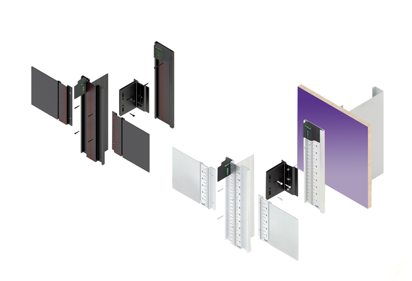 Plastic or non-conductive polyamide used in cladding mount systems