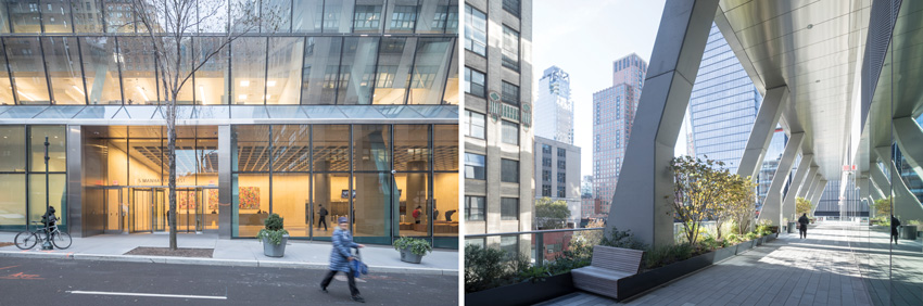 Left: Sloping groung-floor entrance of Westyard Distribution Center in Manhattan. Right: Second level REX opens the portion of pleated glass facade to the building Westyard Distribution Center in Manhattan