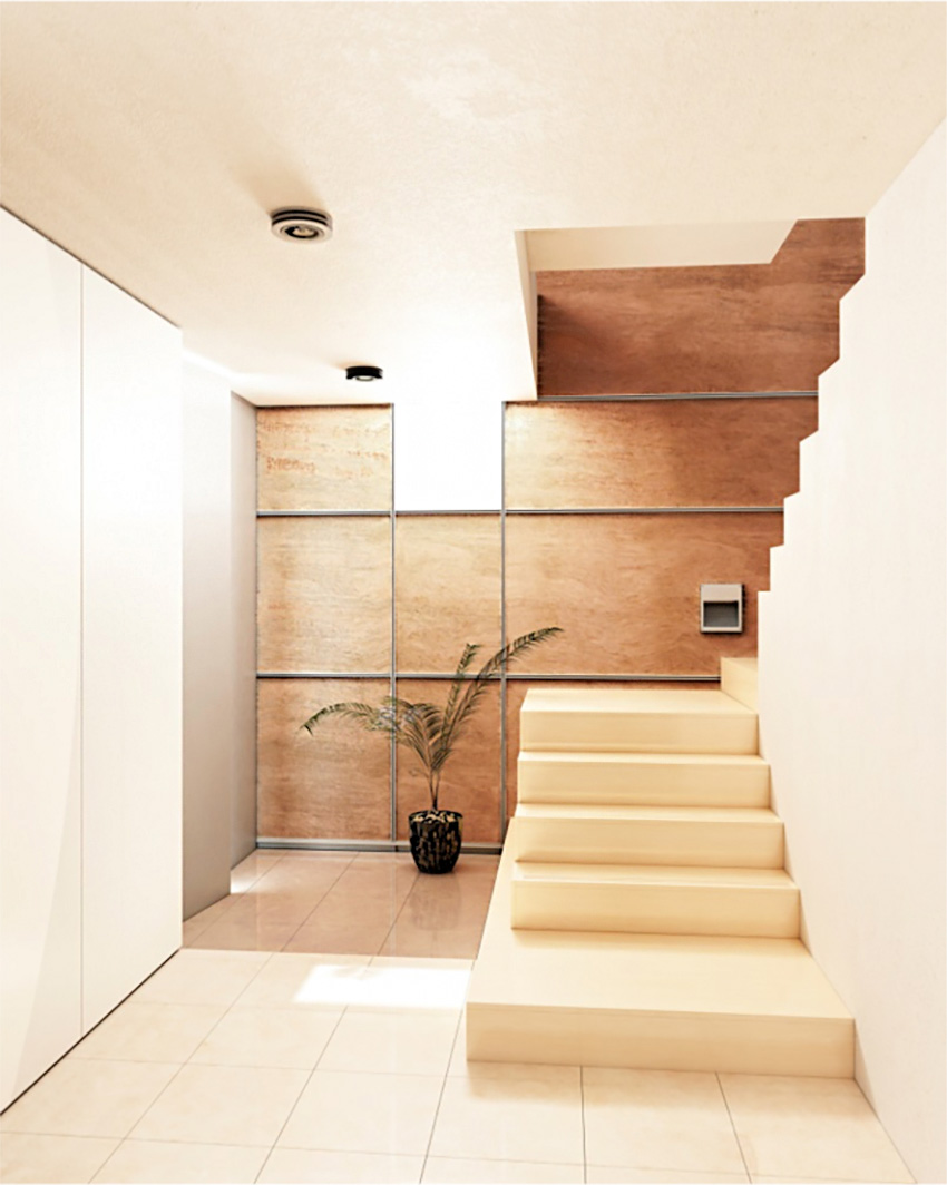 Millennial multi-residential spaces are often compact and minimalist with extruded aluminum trim on staircase