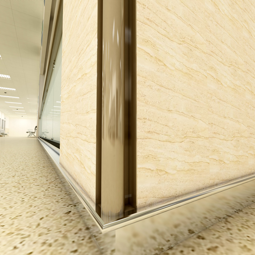 An extruded Aluminum trim corner and base in a lobby