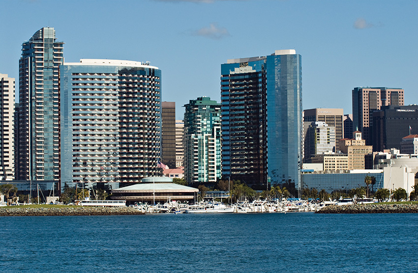 Left: Convention Center Hotel from the water